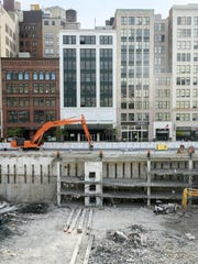Construction is underway at the Hudson's building site in downtown Detroit.
