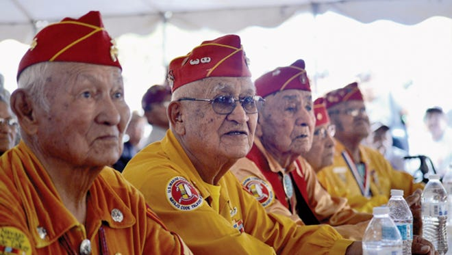 Navajo code talkers participate in the Code Talker Day celebration in Window Rock, Ariz., in November 2014. The work of the young Navajo marines during World War II will be discussed in an Oct. 11 presentation in Aztec by Los Alamos historian Nancy Bartlit.