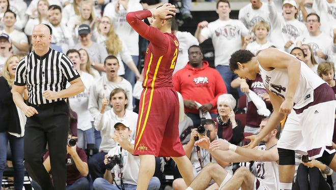 Iowa State forward Abdel Nader (2) reacts after being called for charging against Texas A&M guard Alex Caruso (21) in the second half at Reed Arena. A&M won 72-62.