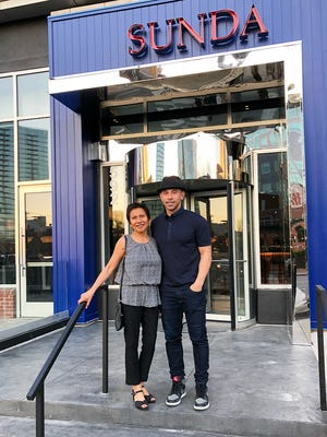 Restaurateur Billy Dec and his mom, Celia Dec, stand outside the Nashville location of Dec's newest restaurant, Sunda, that just opened in The Gulch.