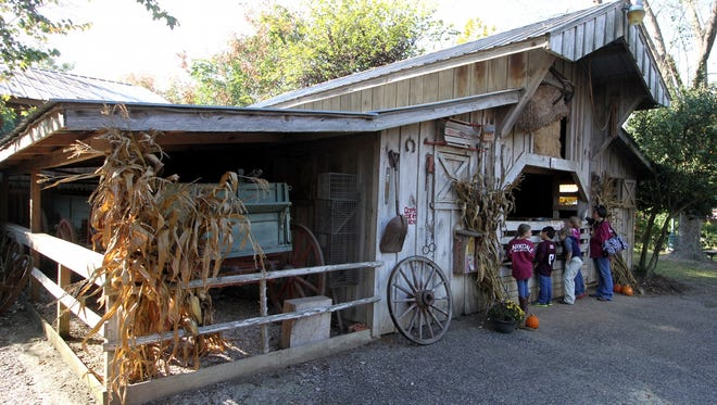 In this photo taken on Oct. 31, 2014, second-graders from Clarkdale Elementary School in Lauderdale County, Miss., take a look at a 1900s barn replica, one of 80 recreated buildings representing the late 1800s and early 1900s, at Landrum's Homestead and Village in Laurel, Miss. The students were on class trip to the village. (AP Photo/The Meridan Star, Paula Merritt)