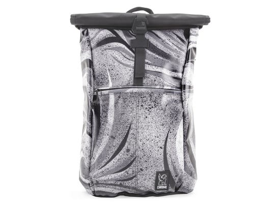 Chrome Industries' eight Yalta laptop bag designs are based on a Japanese canvas and acrylic painting depicting Black Fog.