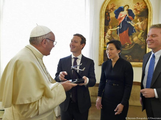 Pope Francis meeting with Facebook CEO Mark Zuckerberg