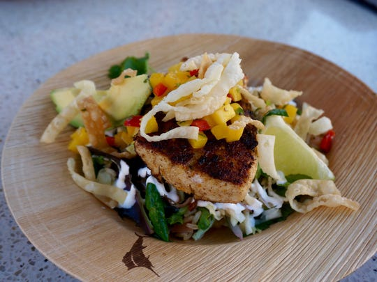 he Blackened Mahi Bowl is a crowd pleaser; healthful and filling with bold flavor and complimentary texture.