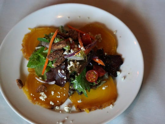 The rooted golden beet salad is just big enough to