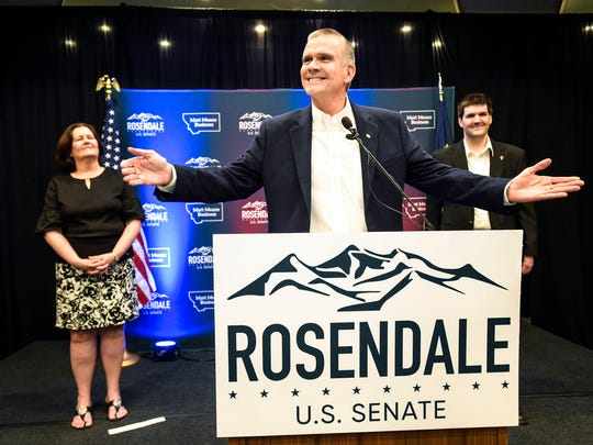 In this June 5, 2018 photo, Matt Rosendale addresses supporters in Helena, Mont., after winning the Republican nomination for the U.S. Senate. Rosendale will challenge Democratic incumbent Jon Tester in November. (Thom Bridge/Independent Record via AP)