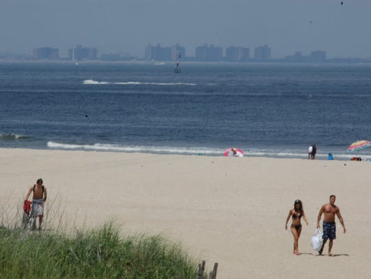 Sandy Hook beach with New York buildings in the distance. One of the Army Corps' proposal to prevent catastrophic flooding for northern New Jersey is to build a 5-mile barrier between Sandy Hook and New York.