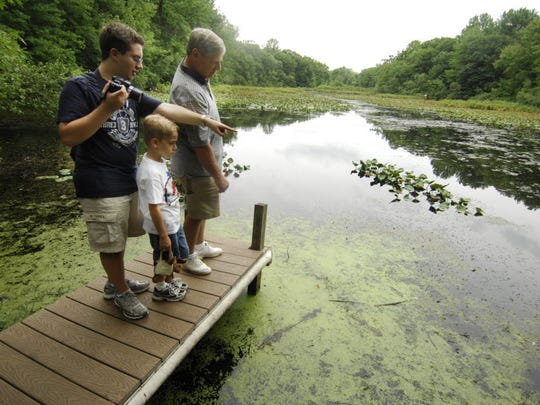 Brian Temple, 16, points out several frogs to his grandfather,