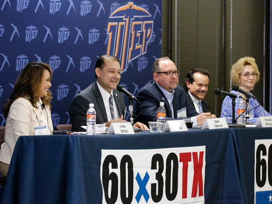 Linda Battles, left, associate commissioner for the Texas Higher Education Coordinating Board, is joined by William Serrata, president of El Paso Community College; Juan Cabrera, superintendent of the El Paso Independent School District; Eduardo Rodriguez, interim chief professional officer for the Council on Regional Economic Expansion and Educational Development; and Joyce Wilson, CEO of Workforce Solutions Borderplex, during a panel discussion about the goals of the new higher education plan and the role of school, college and business community collaboration in achieving the goals set out by the 2015-30 Texas Higher Education Plan, also known as 60x30 Texas. The workshop was held Tuesday at the University of Texas at El Paso.