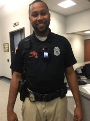 York City School Police Officer Quinn Johnson demonstrates