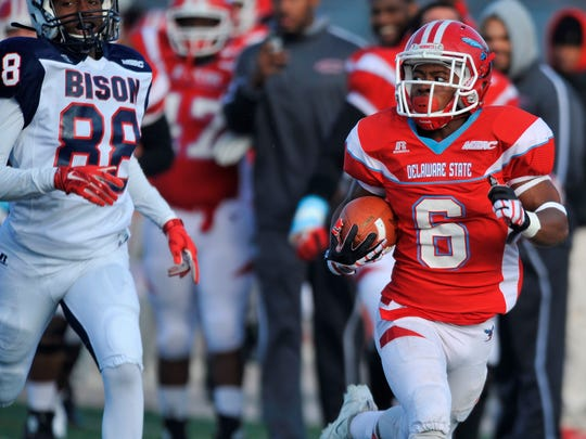 Brycen Alleyne breaks free for an 88-yard touchdown on a kickoff return for Delaware State last year against Howard.