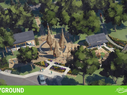 A rendering shows a concept for a new playground at