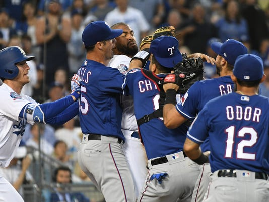 MLB: Texas Rangers at Los Angeles Dodgers
