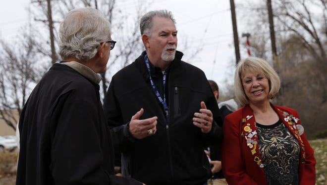 River Reach Foundation board member Bob Lehmer, left, Farmington Parks Recreation and Cultural Affairs director Cory Styron and River Reach Foundation board member Jill McQueary talk Wednesday about the future expansion of the Animas River trails system in Farmington.