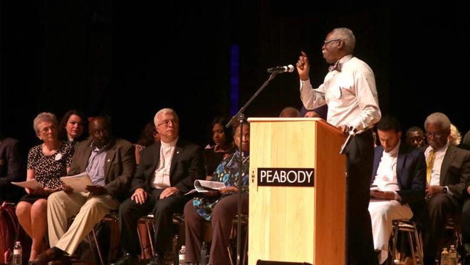 Jackie Mole, a member of Allen Chapel AME Church in Daytona Beach, makes a point at a F.A.I.T.H. rally in Daytona Beach in 2018. He and others will be urging Volusia County to establish a dedicated fund for affordable housing at a rally at the Daytona Beach Drive-In Church Wednesday.