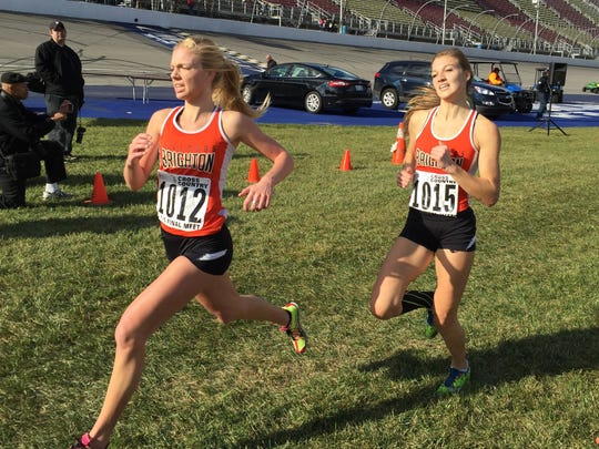 Brighton's Kirsten McGahan (1012) and Miranda Reynolds (1015) were the top two finishers when Brighton took second in the 2015 state Division 1 girls' cross country meet.