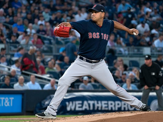Boston Red Sox's Eduardo Rodriguez pitches against the New York Yankees during the first inning of a baseball game Thursday, Aug. 31, 2017, in New York. (AP Photo/Craig Ruttle)