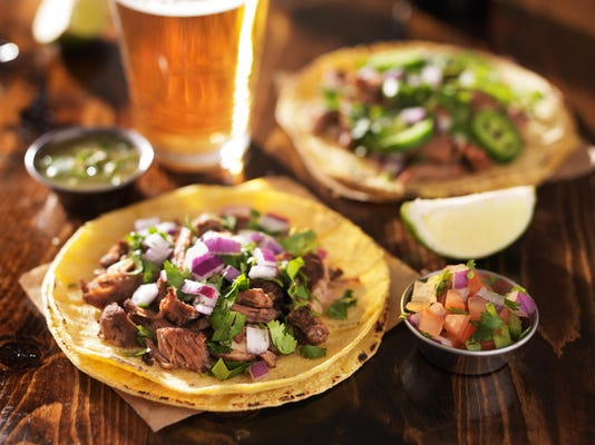 authentic mexican tacos with beer
