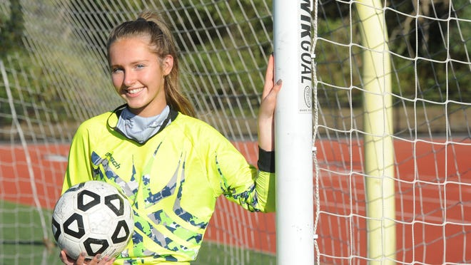 Soccer is where Monomoy's Josie Ganshaw feels most at home. The talented and fearless 16-year-old senior captain, in her fifth year in net, has pursued goalkeeping with determination and sharp focus.