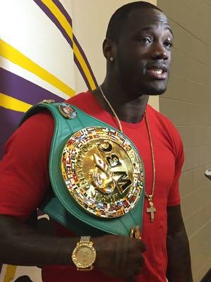 WBC heavyweight champion Deontay Wilder spoke to student-athletes in Columbus on Thursday.