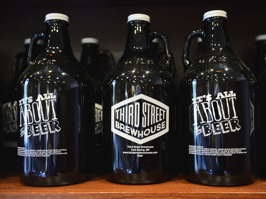 Growlers at Third Street Brewhouse in Cold Spring. The company says it will not be pursuing a Sunday growler license at this time.