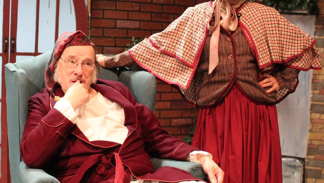 "CAPTION  Mrs. Cratchit (played by Nola Young) and Ebenezer Scrooge (Mark Carovale) are among the prominent characters in ""Mrs. Bob Cratchit's Wild Christmas Binge.""  The comedy with music, a warped take on ""A Christmas Carol,"" opens tonight at Brundage Park Playhouse in Randolph."