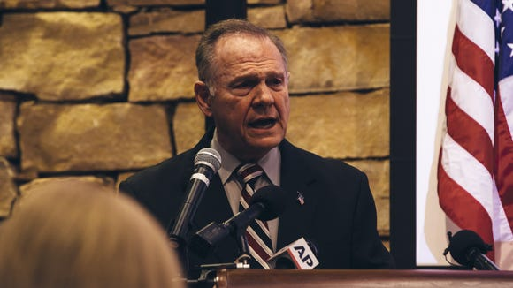 The real Roy Moore speaks during a mid-Alabama Republican