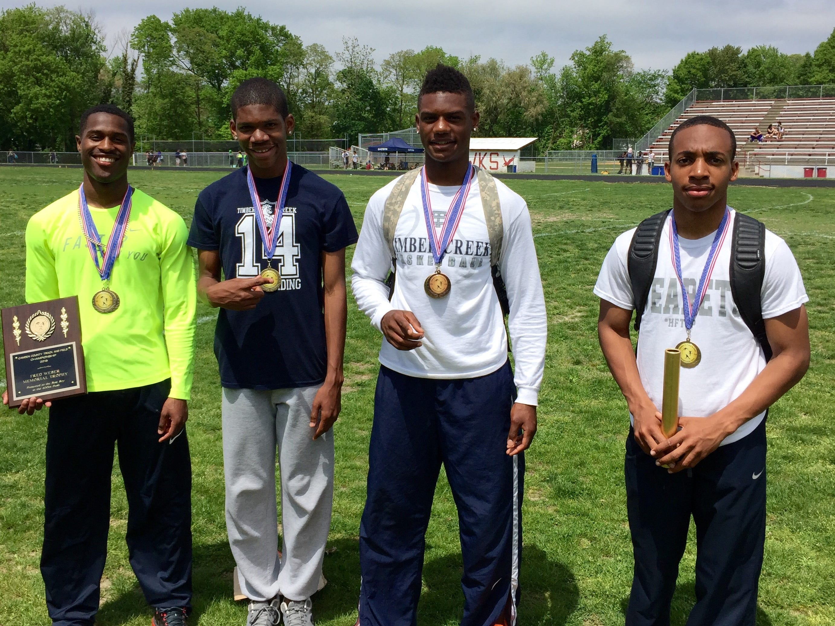 Timber Creek's 4x400 relay team (L to R) Dante Witcher, Darius Carroway, Jerryl McCoy and Jason Butler captured a first-place finish at the Camden County Championships on Saturday.