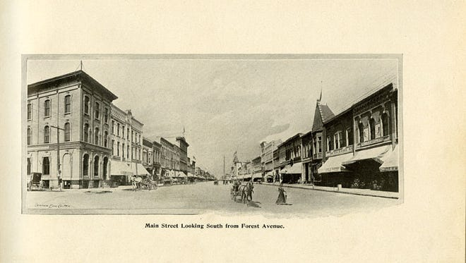 """View of Main Street looking South from Forest Ave. in 1898. E.C. Williams, from """"Fond du Lac illustrated."""""""