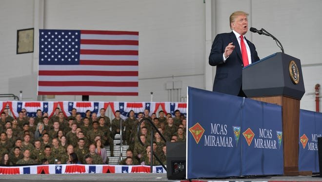 President Donald Trump speaks to military personnel at Marine Corps Air Station Miramar in San Diego, California, on March 13, 2018.