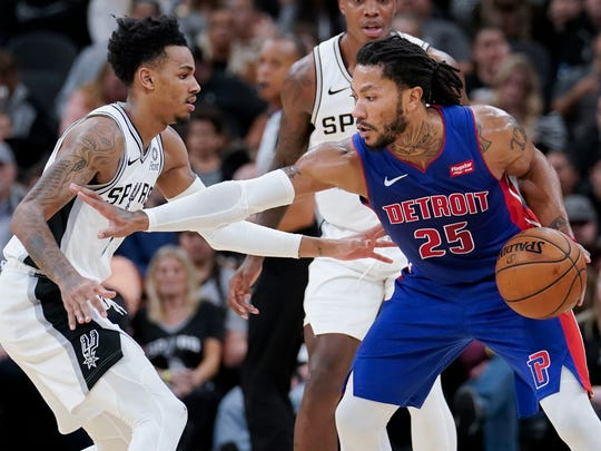 Detroit Pistons' Derrick Rose (25) drives against San Antonio Spurs' Dejounte Murray during the second half of an NBA basketball game Saturday, Dec. 28, 2019, in San Antonio. San Antonio won 136-109. (AP Photo/Darren Abate)