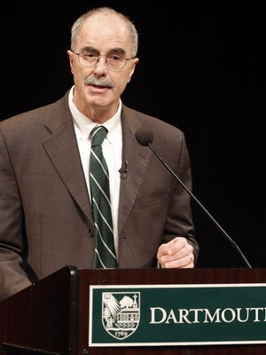 Dartmouth College President Philip Hanlon speaks to faculty and students about changes planned for the Ivy League school Thursday, Jan. 29, 2015, in Hanover, N.H. Dartmouth College banned hard liquor on campus Thursday and said all students will have to take part in a sexual violence prevention program all four years they're enrolled at the Ivy League school.