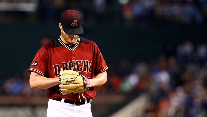 May 18, 2016: Arizona Diamondbacks pitcher Shelby Miller reacts in the first inning against the New York Yankees at Chase Field.