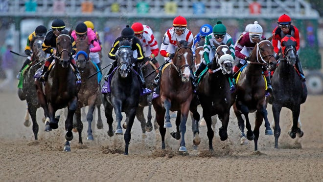 Horses run down the front stretch during the Sentient Jet Breeders Cup Juvenile  at Churchill Downs.