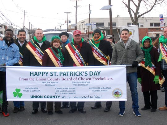 Union County Freeholder Chairman Bruce H. Bergen, Vice Chairman Sergio Granados and Freeholders Mohamed S. Jalloh, Bette Jane Kowaski, Angel G. Estrada, Christopher Hudak and Vernell Wright joined Union County Clerk Joanne Rajoppi, Congressman Leonard Lance and other elected officials in marching in the 21st Union County St. Patrick's Day Parade on Morris Avenue in Union.