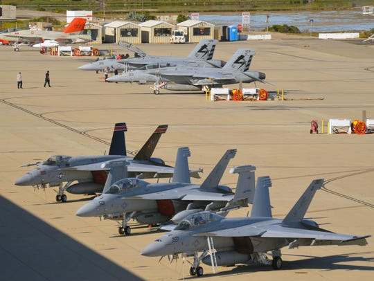 Fighter jets sit on the tarmac at Naval Base Ventura