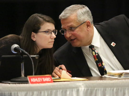 Board member Ashley Sabo and Superintendent Mervin Daugherty during a Red Clay Consolidated School District school board meeting at Warner Elementary School.