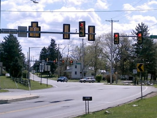 The intersection of Church and Greenbriar roads in Manchester Township.