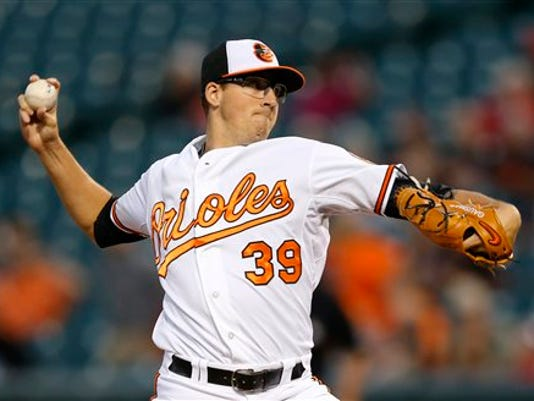Baltimore Orioles starting pitcher Kevin Gausman throws to the Boston Red Sox in the first inning on Monday in Baltimore.