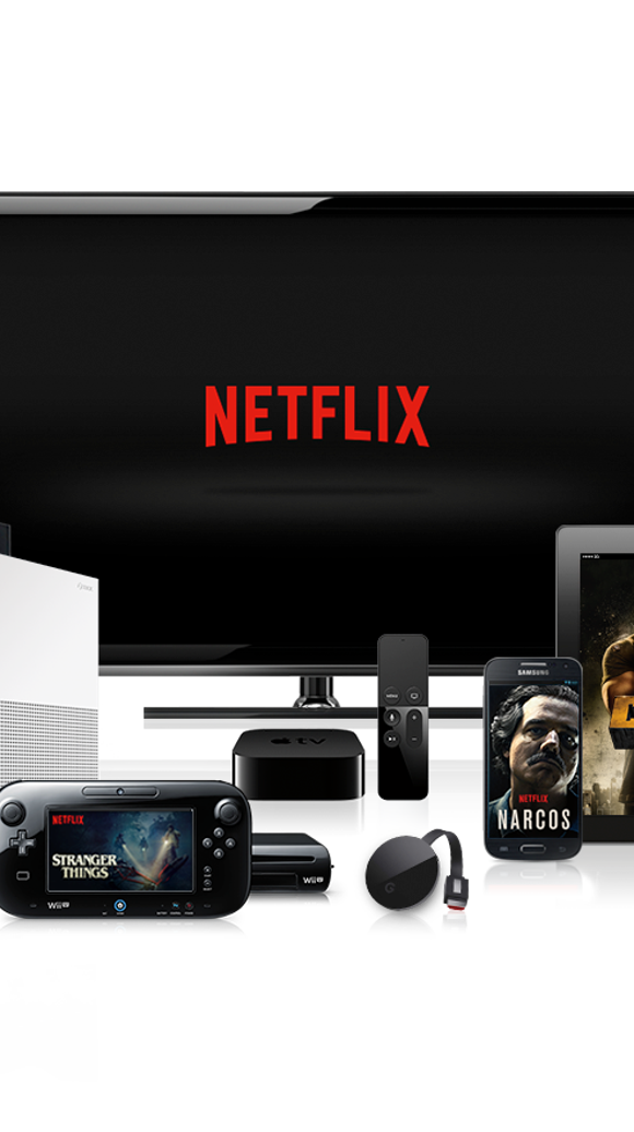 Netflix logo on TV with other devices that support
