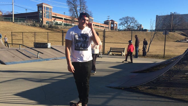 Andrew Graffia, 23, of Red Hook skateboards at Victor C. Waryas Park in the City of Poughkeepsie on March 6.