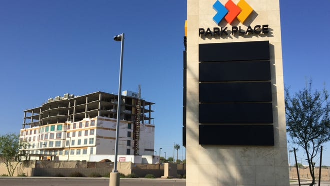 The first phase of Park Place, a development along Price Road Corridor in  Chandler, includes a new Drury hotel now under construction.