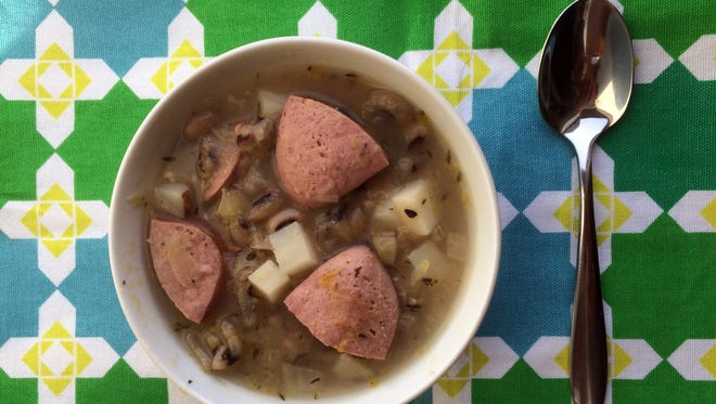 Black-eyed Pea, Sausage and Sauerkraut Soup
