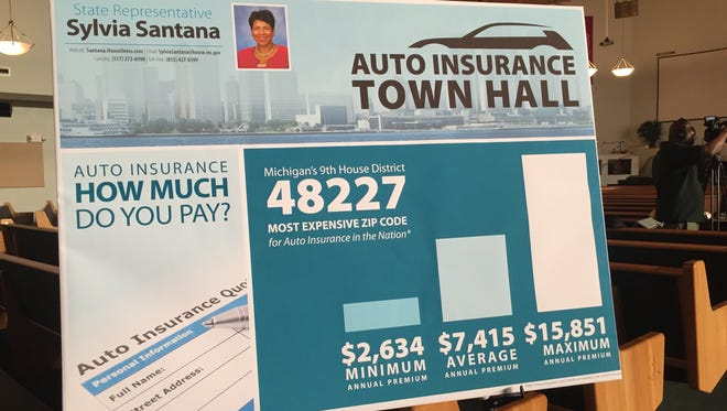 Close to 100 people showed up for a town hall meeting in Detroit Monday night to talk about the high cost of auto insurance in Michigan. The town hall was hosted by state Reps. Sylvia Santana, D-Detroit, and Lana Theis, R-Brighton, who is the chairwoman of the House Insurance Committee.