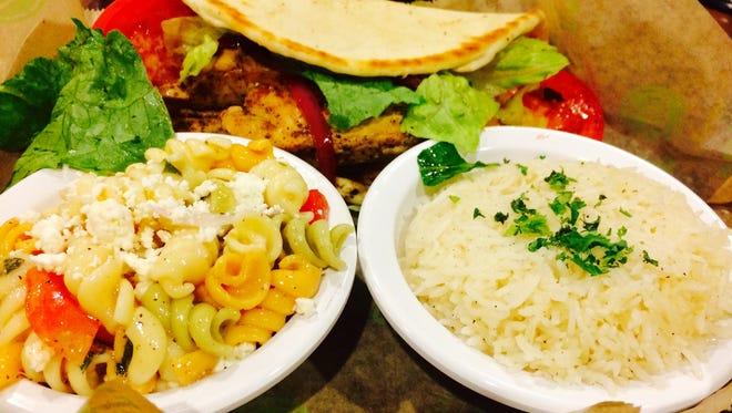 Chicken gyro, rice and pasta salad at Taziki's Mediterranean Cafe.