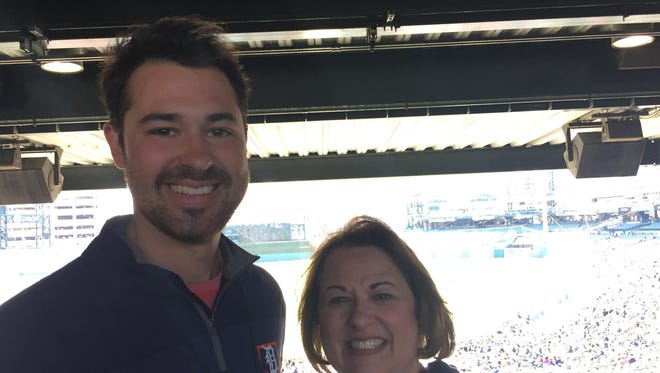 Mike Gerber's younger brother, Dave, and mother, Karen, flew to Detroit to see him make his Major League debut on Friday, April 20, 2018 at Comerica Park.