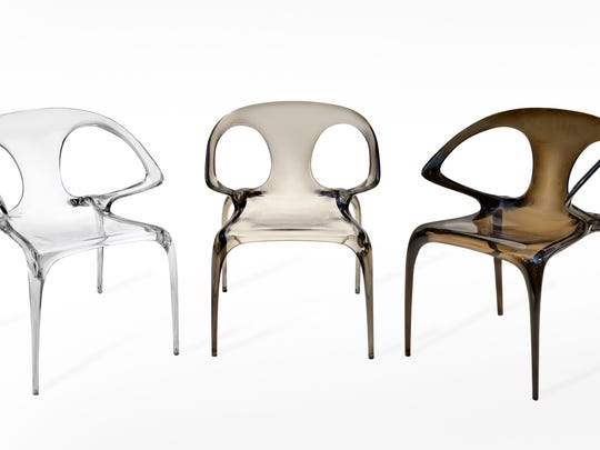 Chinese designer Song Wen Zhong created these stackable Ava chairs. Made in a slim sliver of translucent or opaque polymer, it is available in smoky, watery organic hues. Acrylics, pearlized finishes and wispy textures are all part of a trend toward furnishings with a softer focus.