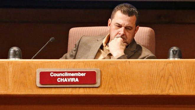 First-term Glendale City Councilman Sammy Chavira at a Glendale City Council meeting on January 19, 2016.