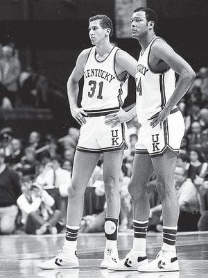 Kentucky basketball players Sam Bowie, left, and Mel Turpin in 1983