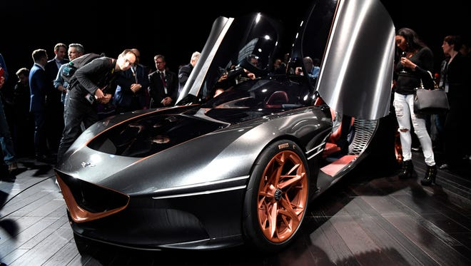 The Genesis Essentia Concept on display at the New York International Auto Show
